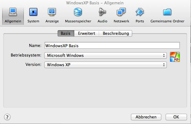 VirtualBox Einstellungen