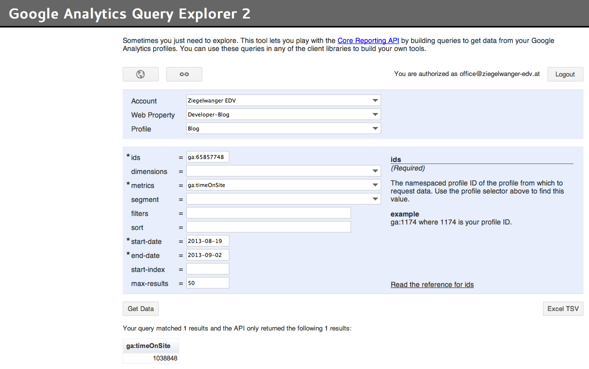 Google Analytics Query Explorer