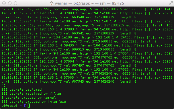 raspberry pi tcpdump