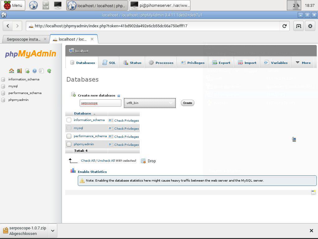 Raspberry Pi Serposcope Datenbanke