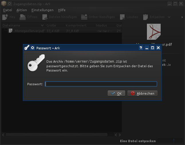 Linux Zip mit Passwort