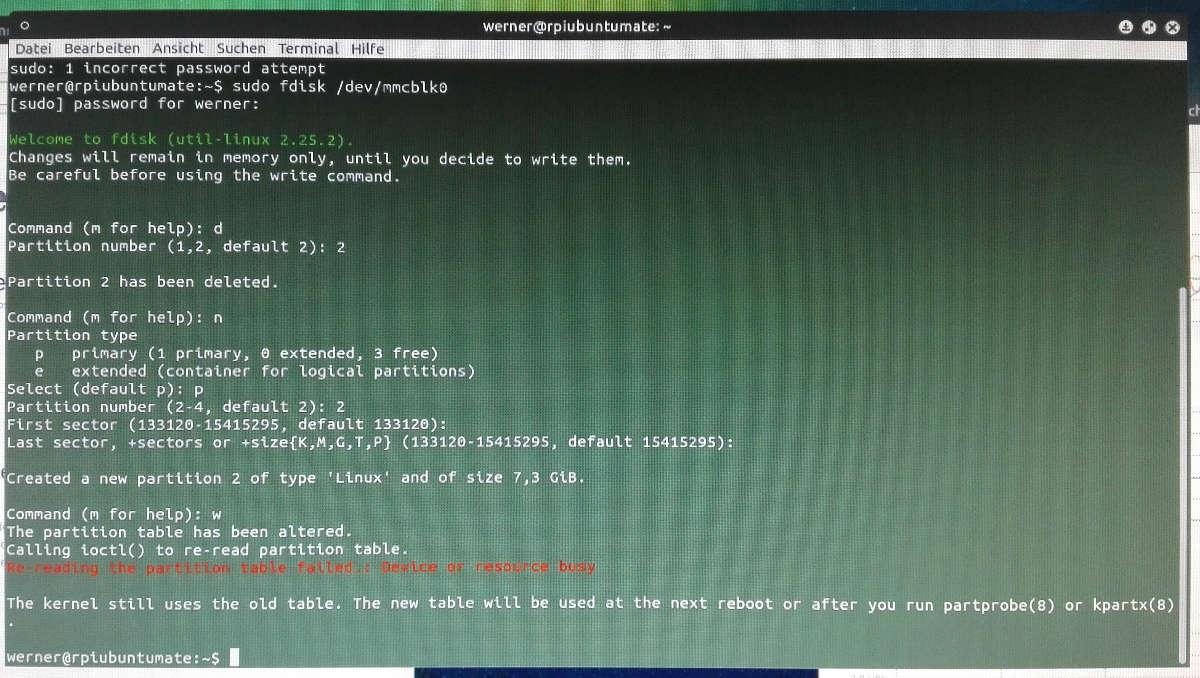 Ubuntu Mate Fdisk