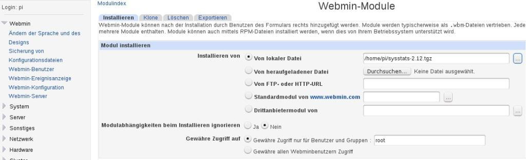 Raspberry Pi Webminstats Installation