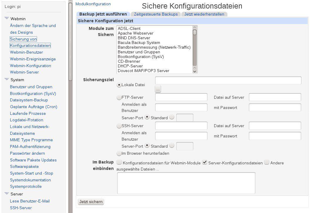 Webmin Konfiguration sichern