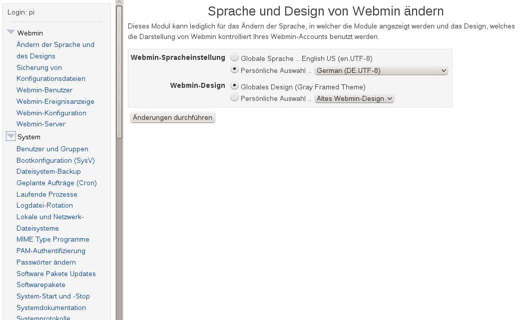 Webmin Sprache ändern