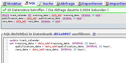 MySQL Datum über SQL ändern