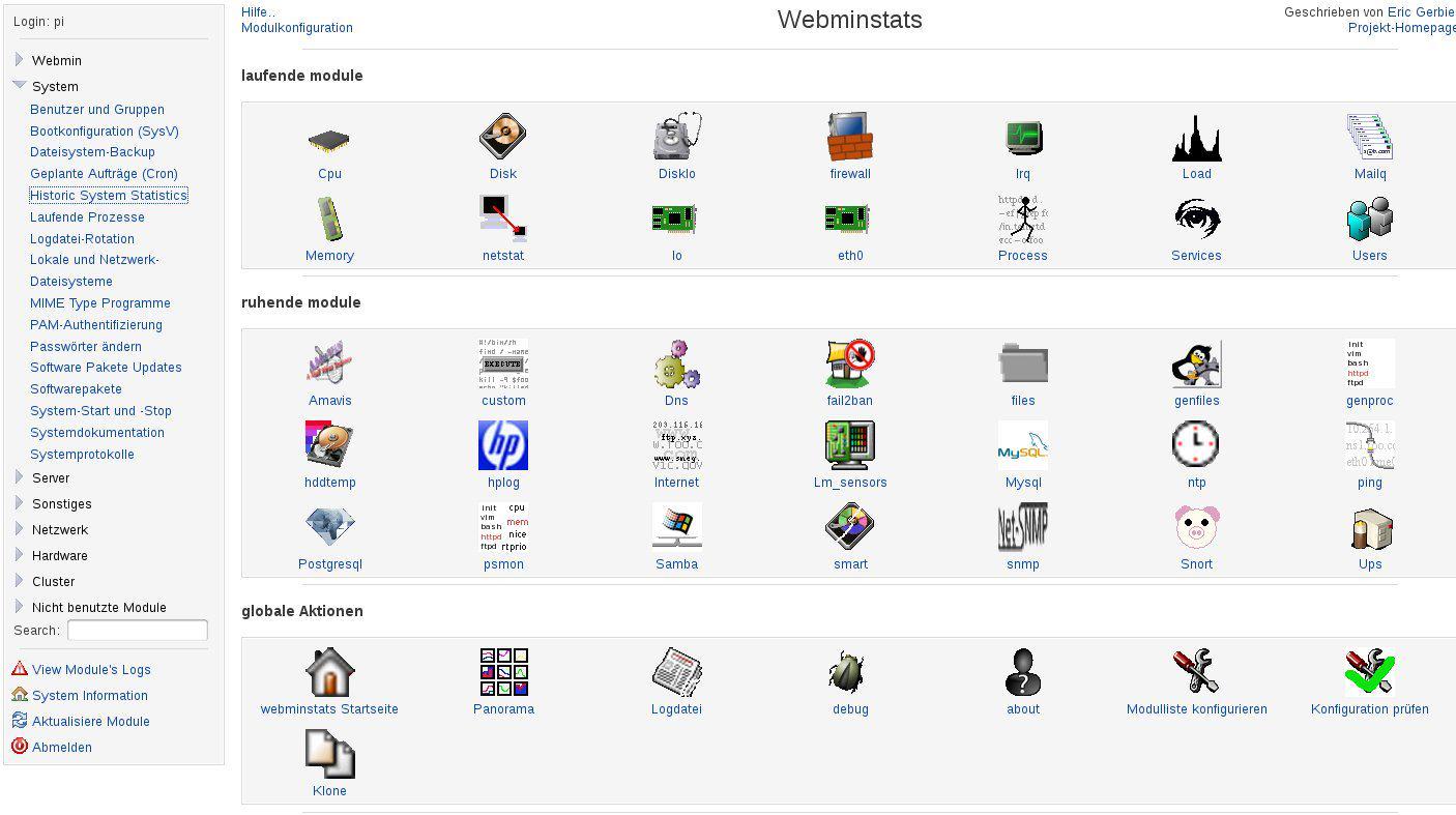 Raspberry Pi Webminstats