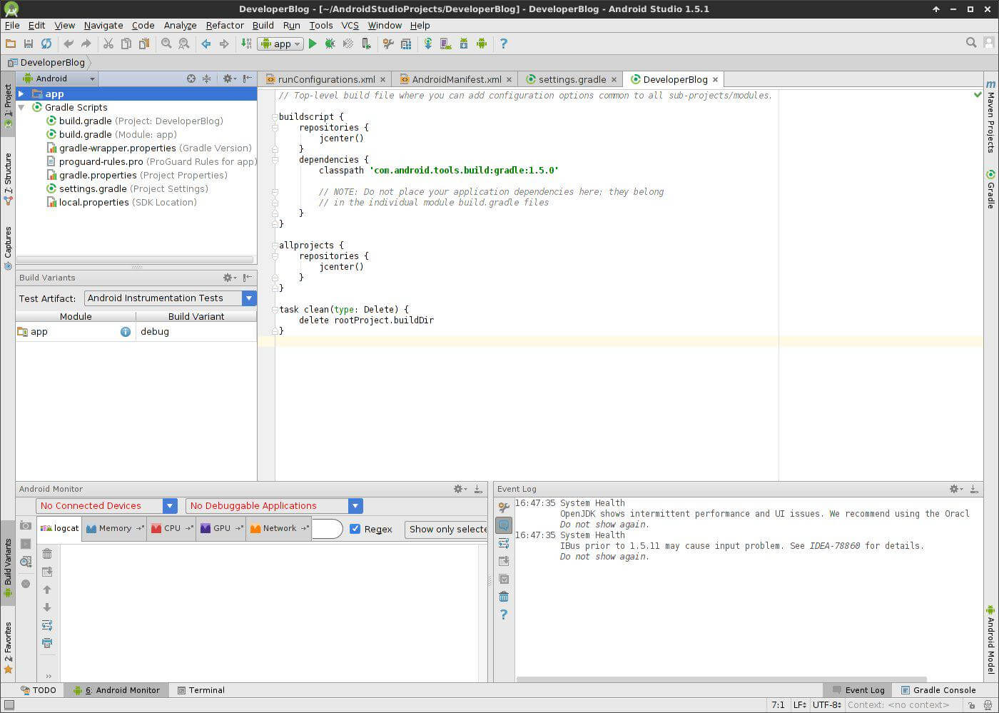 Android Studio Developer Blog App