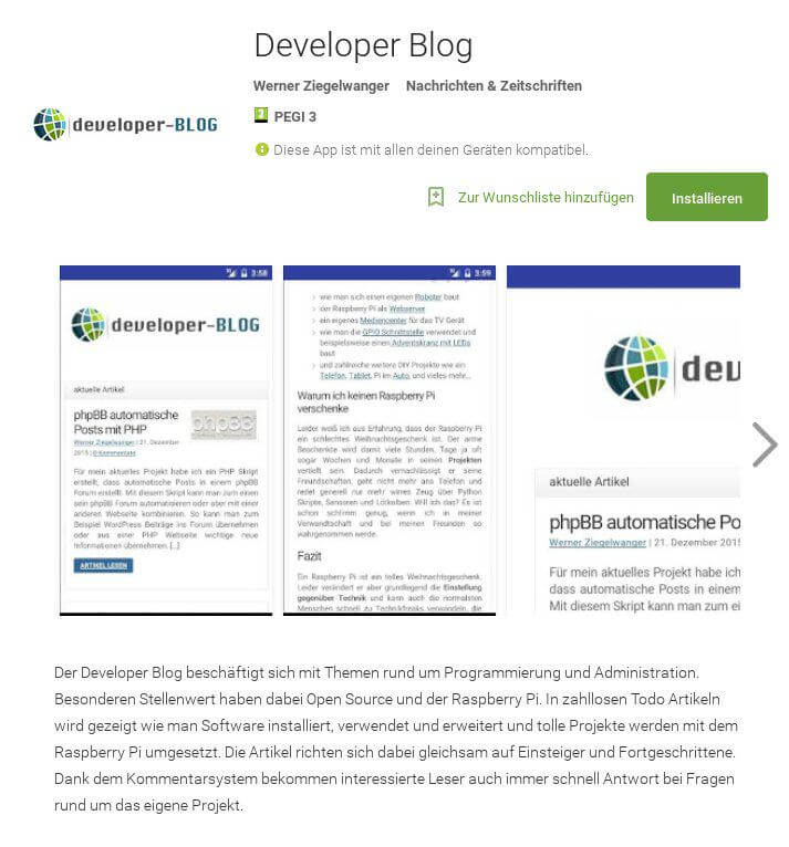 Developer Blog im Google Play Store