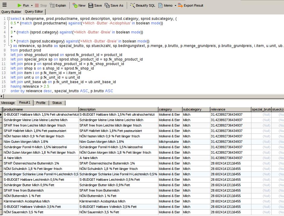 MySQL gewichtete Suche