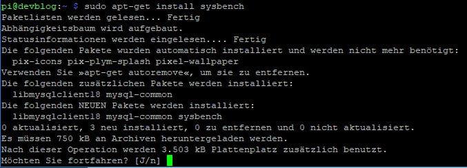 Raspberry Pi sysbench installieren