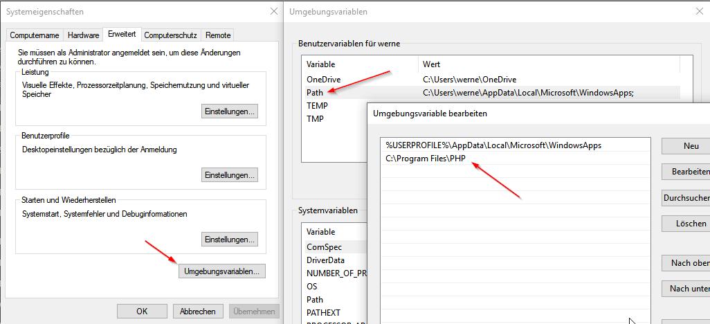 PHP Umgebungsvariablen anlegen