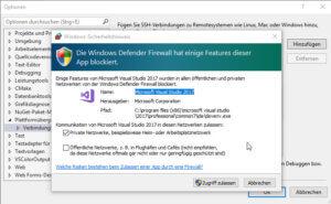 Visual Studio Firewall Abfrage