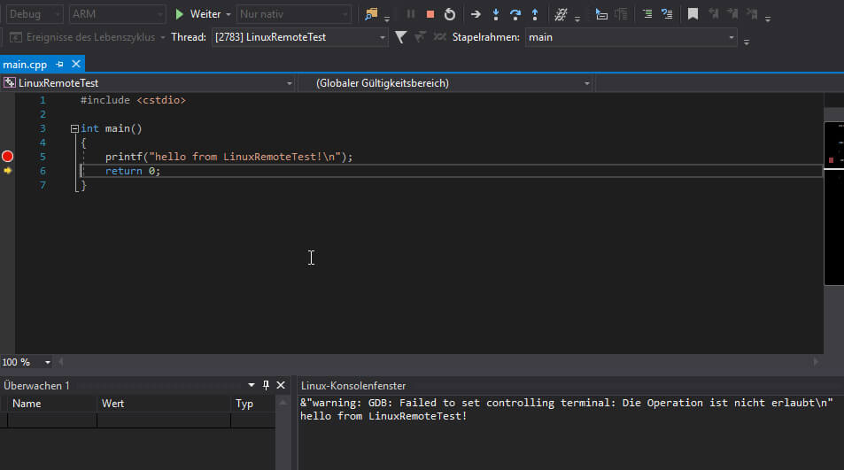 Visual Studio Raspberry Pi remote execution