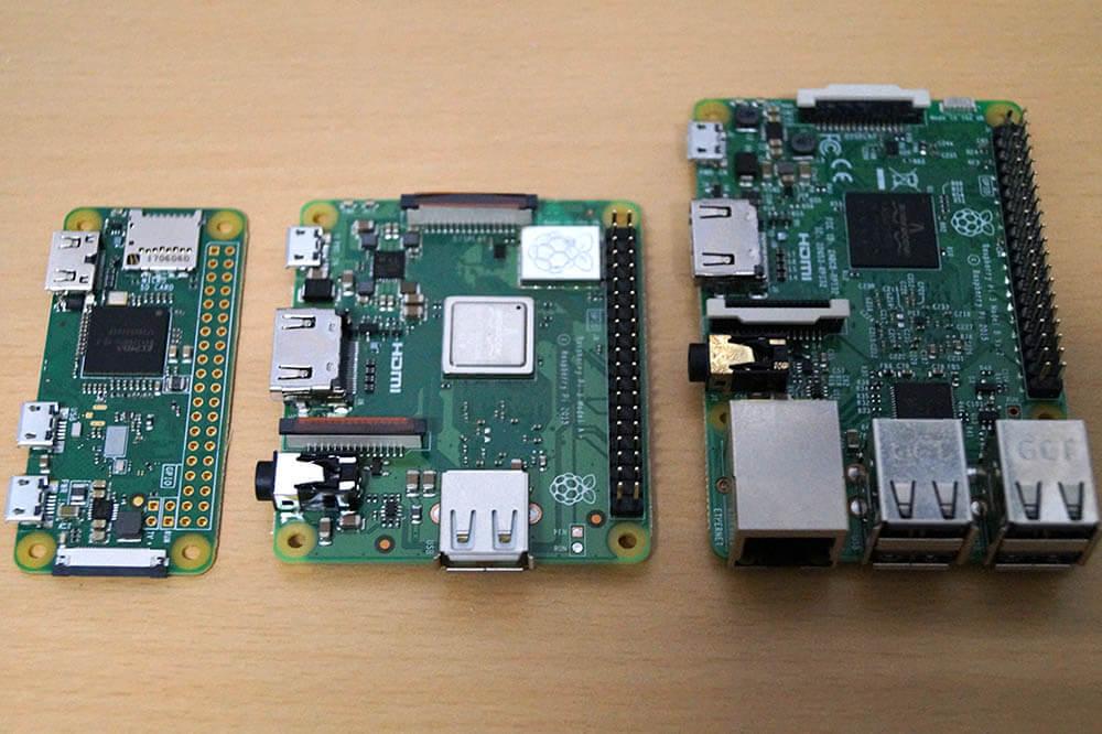 Raspberry Pi Modell A+ im Größenvergleich