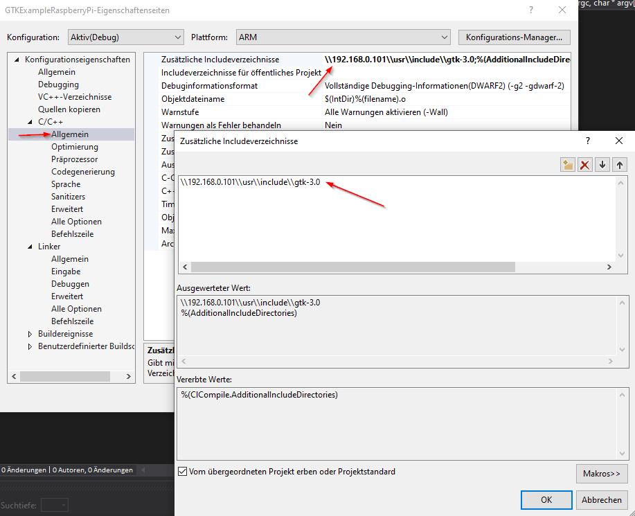 C++ Include Verzeichnisse GTK