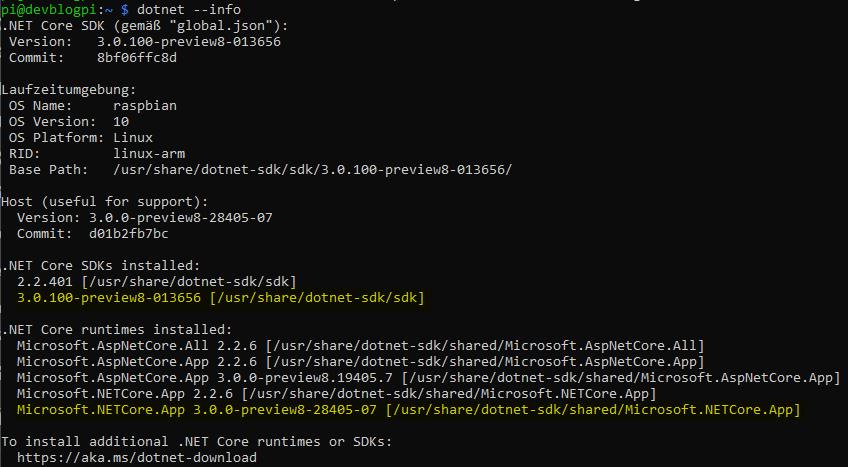 dotnet Core 3 Raspberry Pi