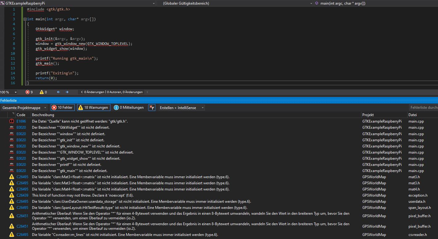 Visual Studio IntelliSense GTK Fehler