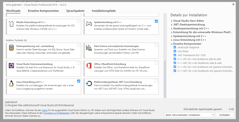 Visual Studio Komponenten