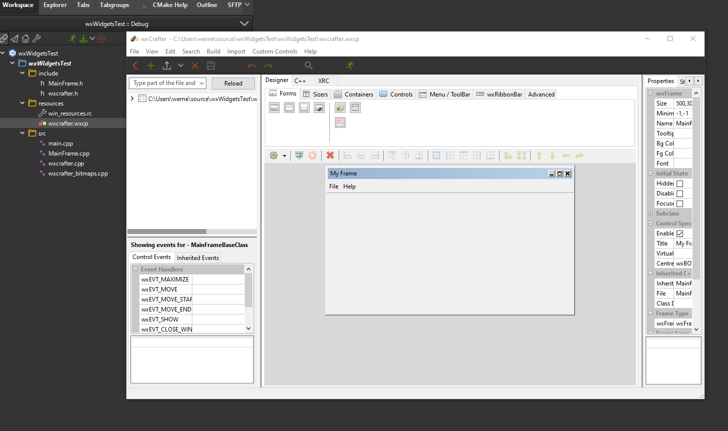 codelite wxCrafter