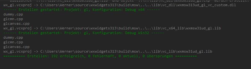 wxWidgets fertig gebaut