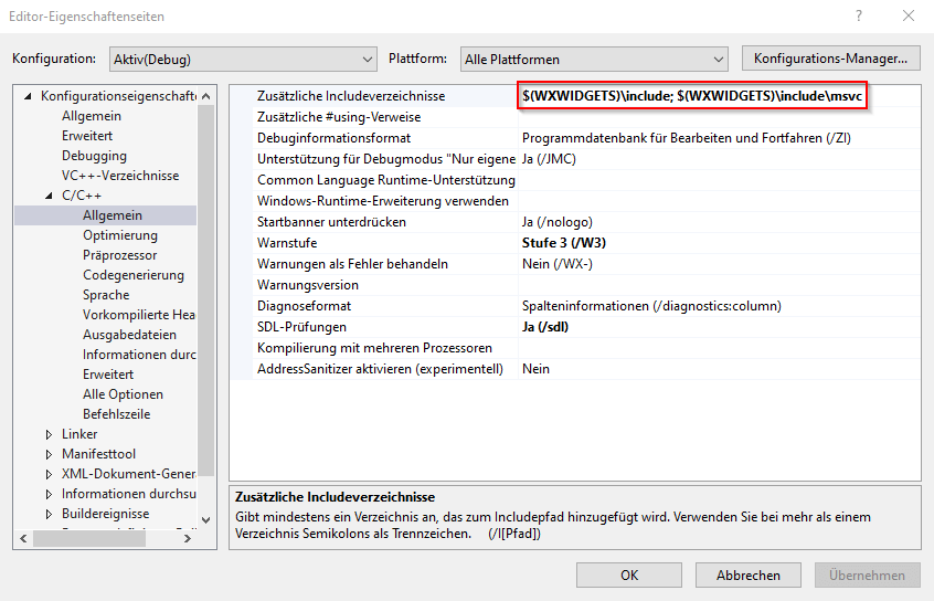 wxWidgets include Visual Studio