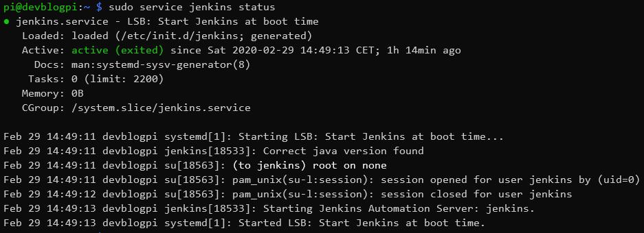 Jenkins service status