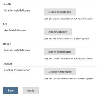Jenkins Ant Maven Gradle Docker konfigurieren