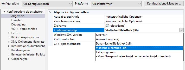 Visual Studio statische Bibliothek Projekteinstellungen