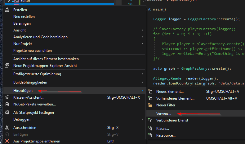 Visual Studio Verweis hinzufügen