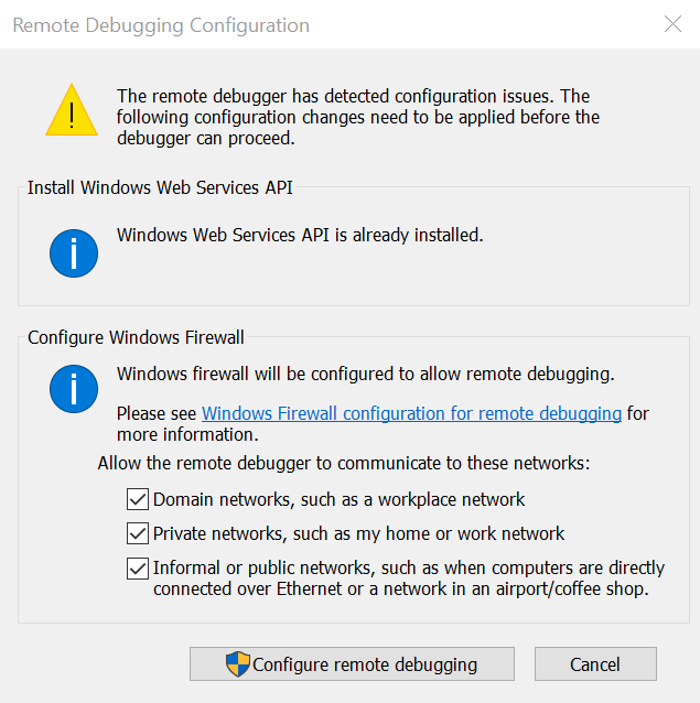 Visual Studio Remote Debugger Dialog