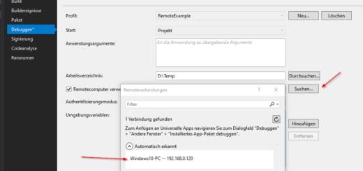 Visual Studio Remote Debugger starten