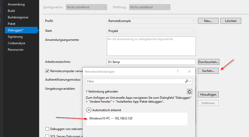 Visual Studio Remote Debugger starten