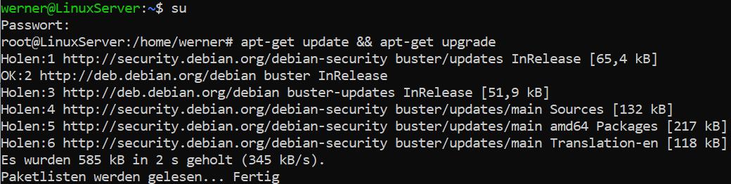 apt-get update upgrade