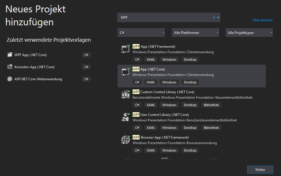 neues WPF .NET Core Projekt