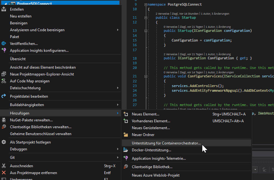 Visual Studio Docker-Compose Orchestrierung