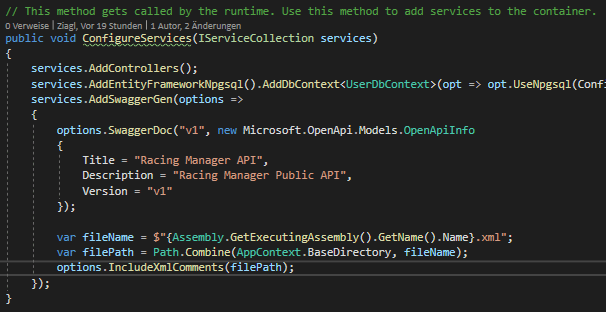 ConfigureServices Method Swagger