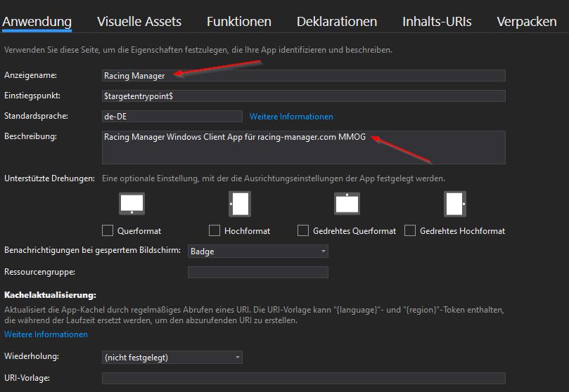 Installer Anwendung Details ausfüllen