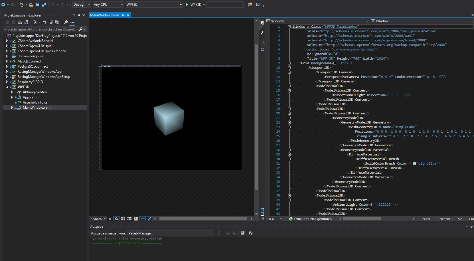 Viewport3d mit WPF und .NET 5
