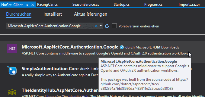 Google Authentication Middleware