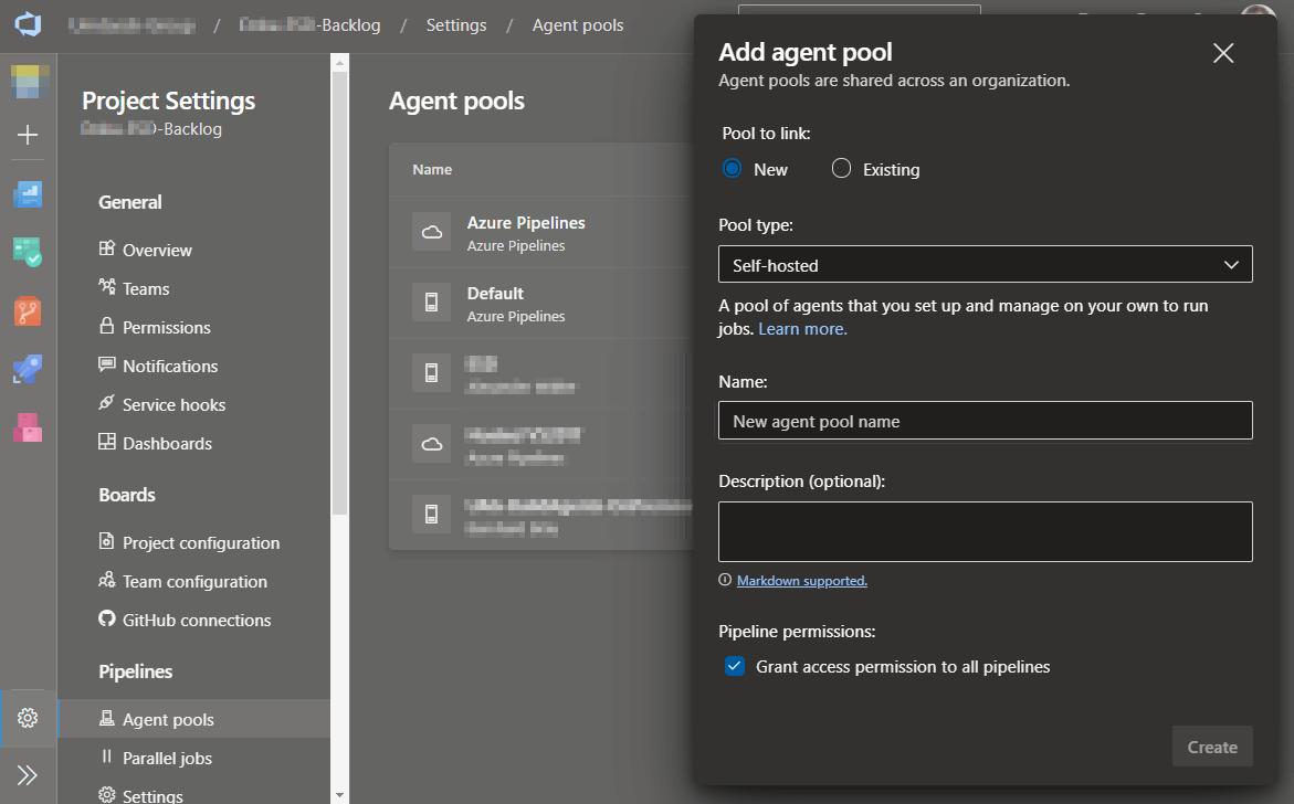 linux build agent create pool
