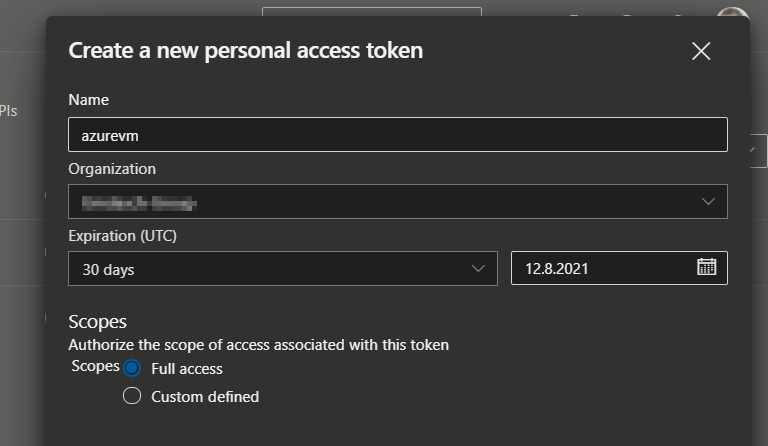 linux build agent personal access token