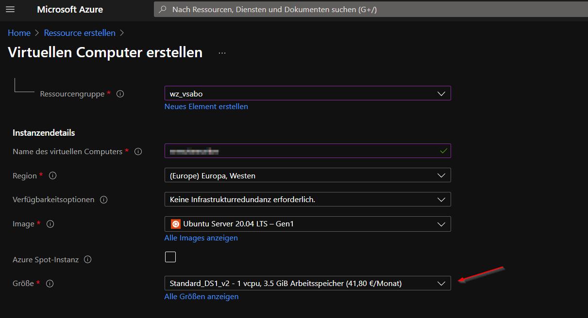 linux build agent vm size