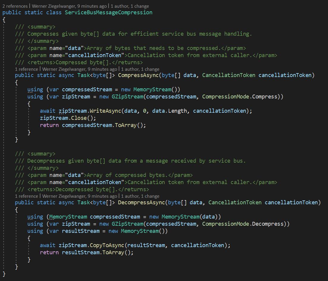 Azure Service Bus compress Message Source Code