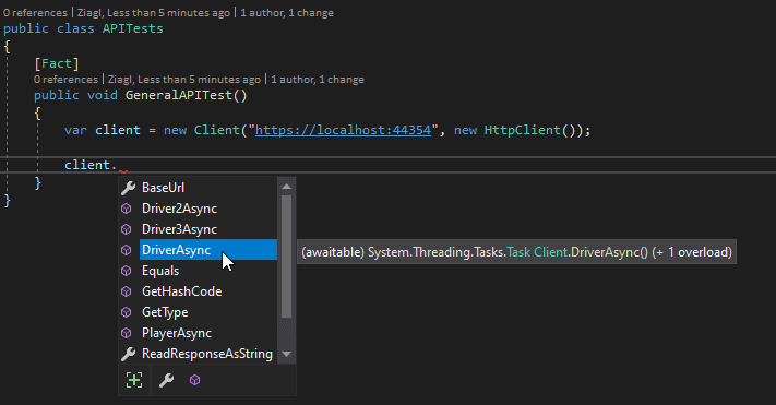 test-auto generated client code